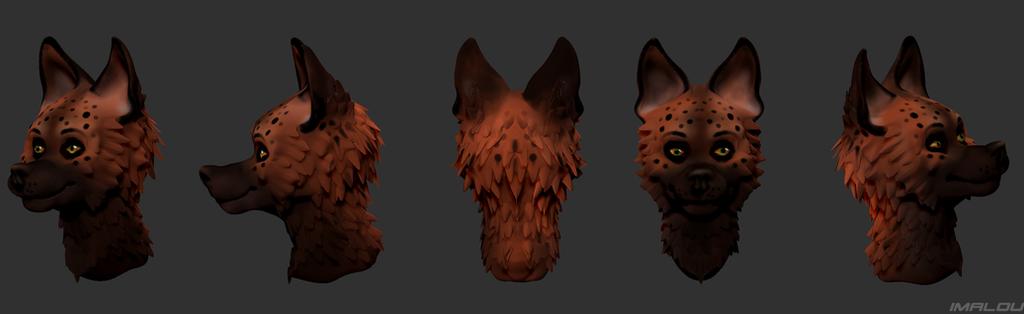 Hyena portrait  3D by Imalou
