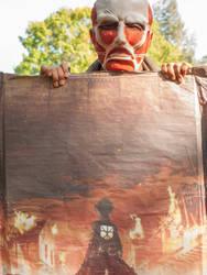 Colossal Titan cosplay with Wall Maria by onicoursemusha