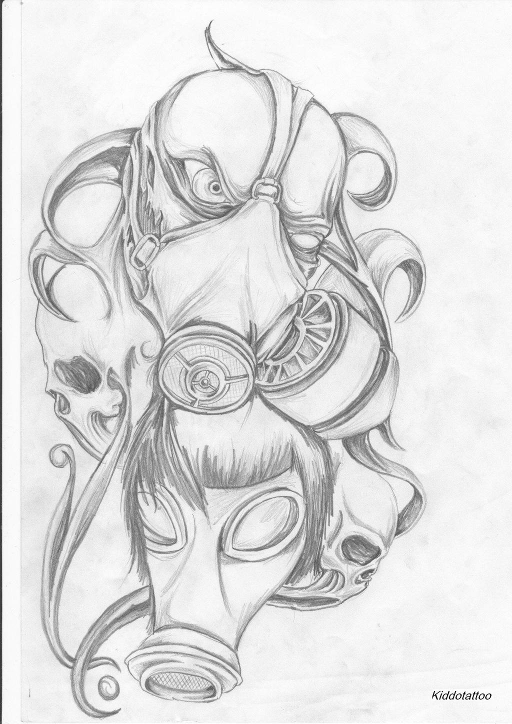 gas mask by Kiddotattoo on DeviantArt Gas Mask Tattoo Sketch