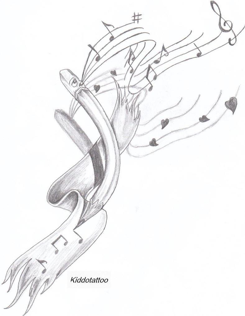 Pencil drawings of music