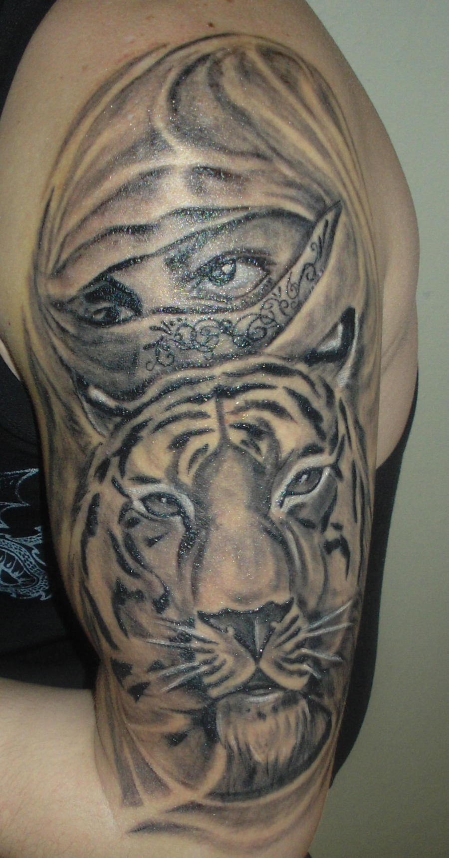 tiger tattoo and eyes by kiddotattoo on deviantart. Black Bedroom Furniture Sets. Home Design Ideas