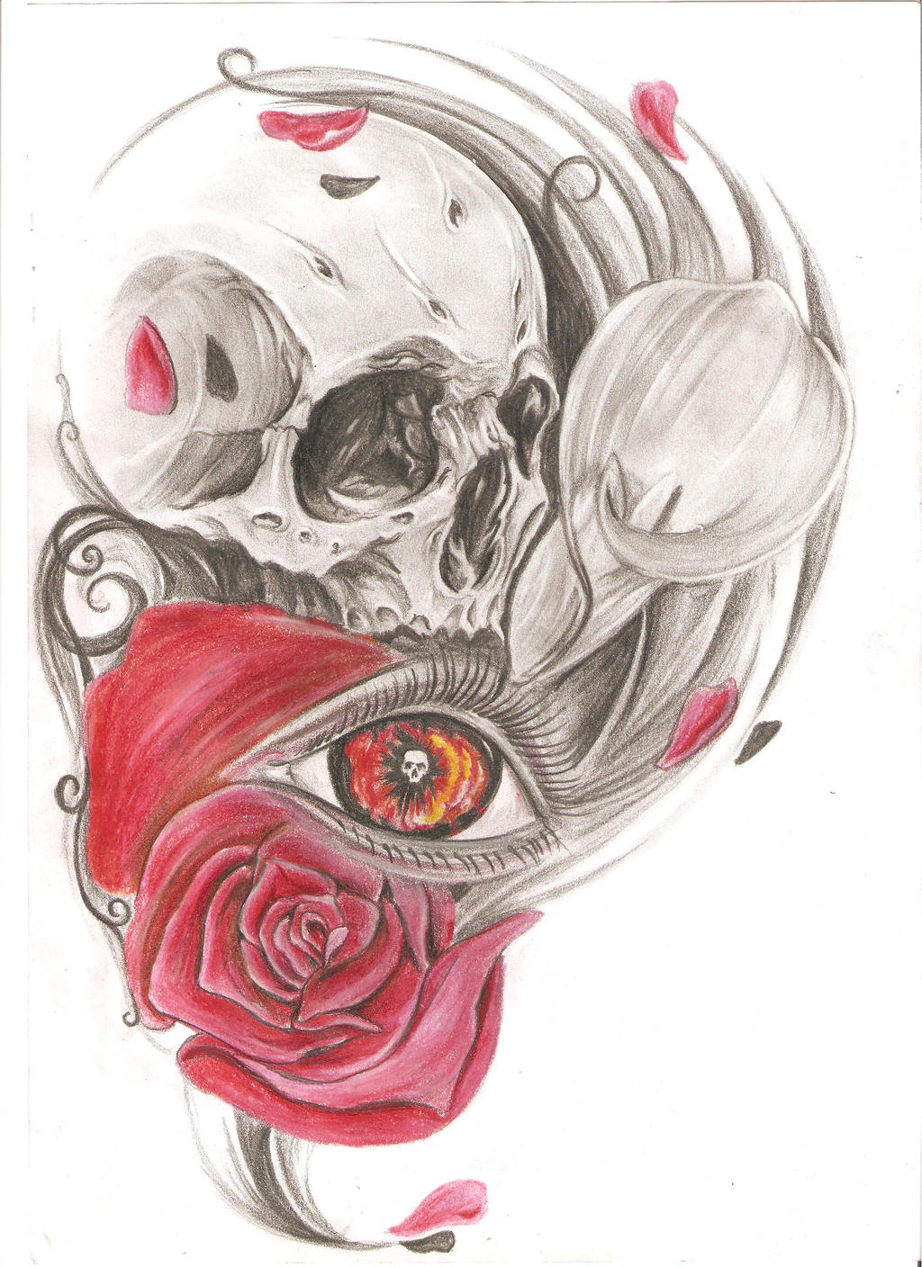 skull and flowers by Kiddotattoo on DeviantArt