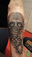 skulls and weed tattoo