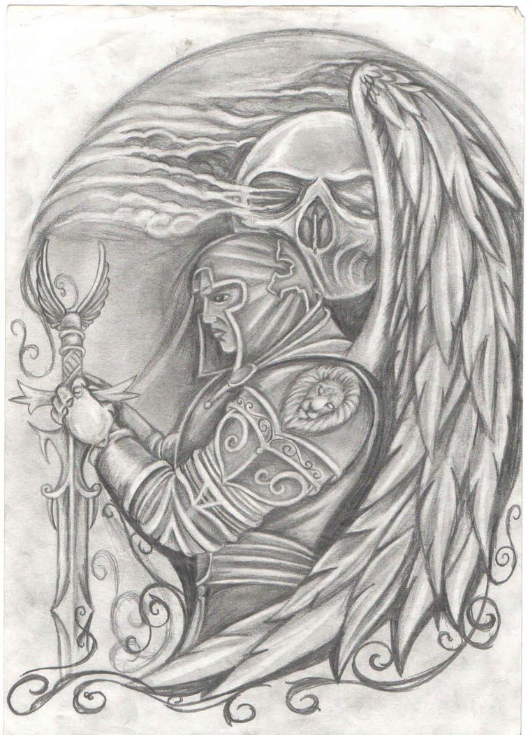 Warrior Angel Tattoo Drawings Warrior angel by kiddotattoo