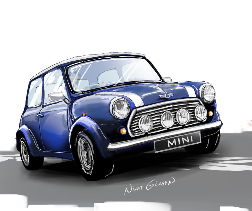 Blue Classic Mini Cooper with red rims and white walls - i ...  Old Blue Mini