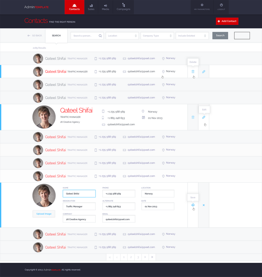 Admin Template - Contact by SheikhNaveed