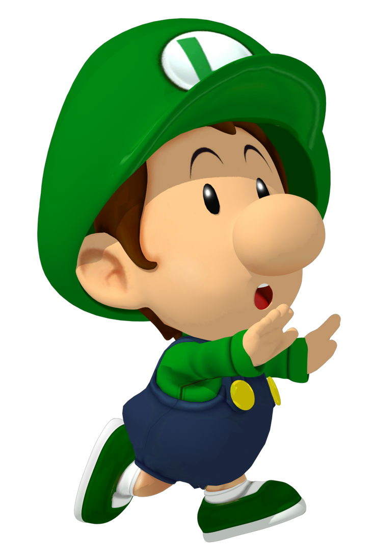 baby luigi runs away from a transparent background by babyluigionfire