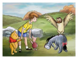 Winnie the Pooh Watercolour by Nollaig
