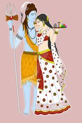 Lord Shiva and Goddess Parvati by Madhuchhanda