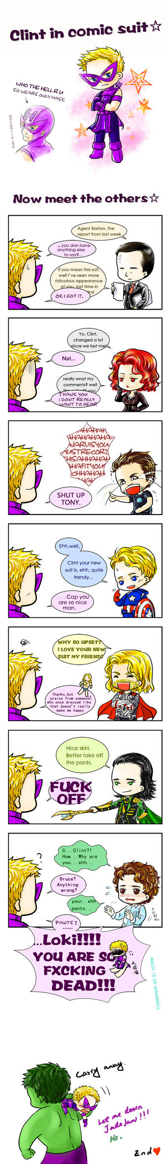Clint (JR) in comic suit by kingbirdkathy