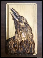 Crow Woodburning by NikSebastian