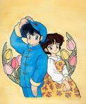 Ranma and Akane - Flowers