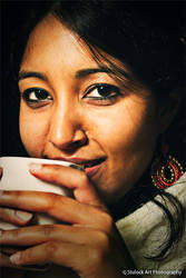Girl Drinking Chai