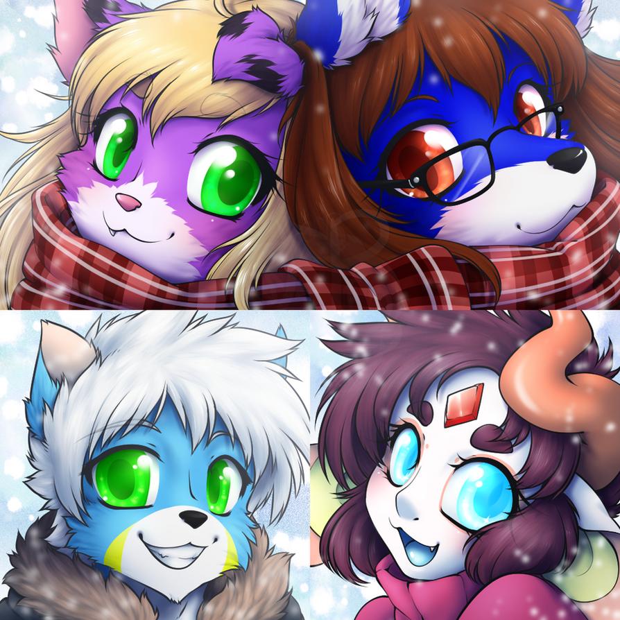 Winter Icons: Jess, Chris, Zack, and Ashiji by LovelessKia