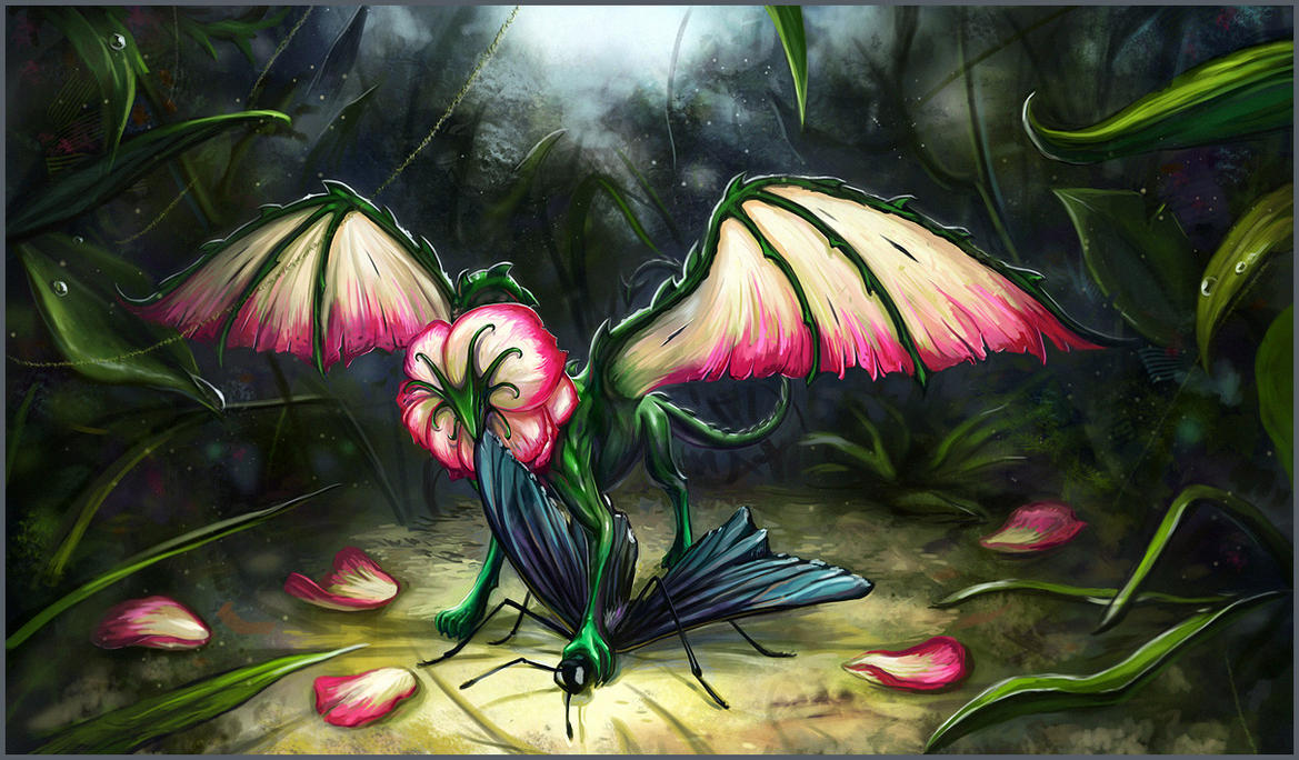 Pink Rose Dragon by curlyhair