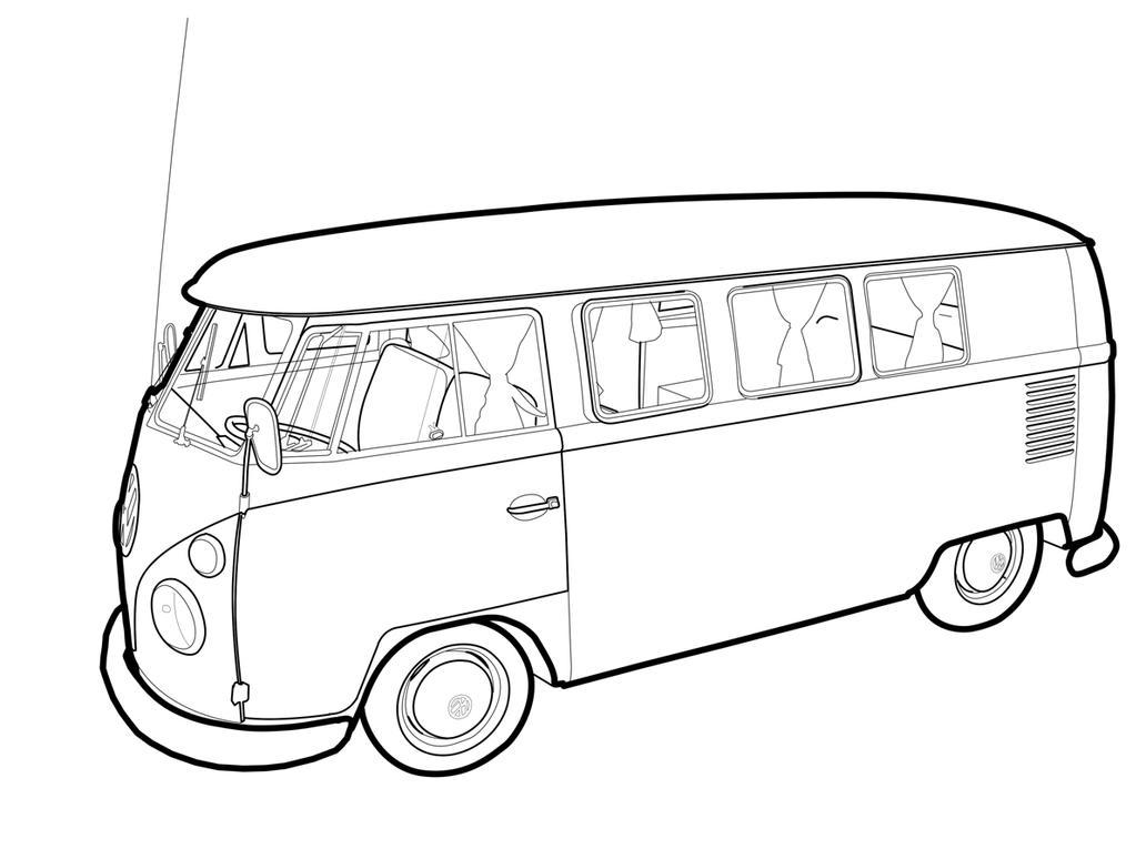 kleurplaat t1 tekeningen volkswagen busjes