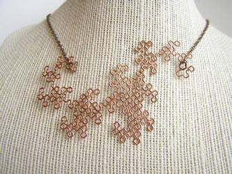 Dragon Curve Pendant in Raw Copper