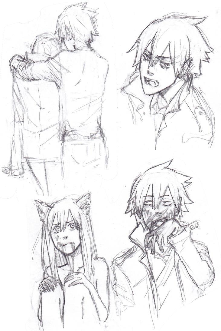 Anime Werewolf And Vampire Vampire And Werewolf au by