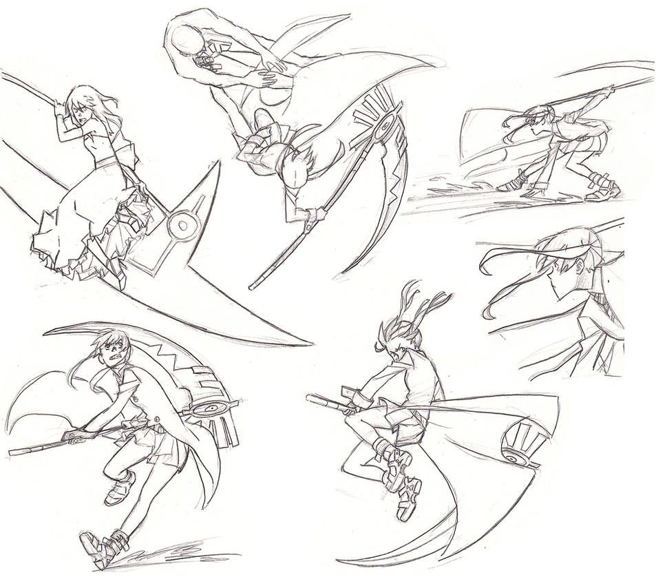 Maka in action/fight poses by Jazzie560 on DeviantArt