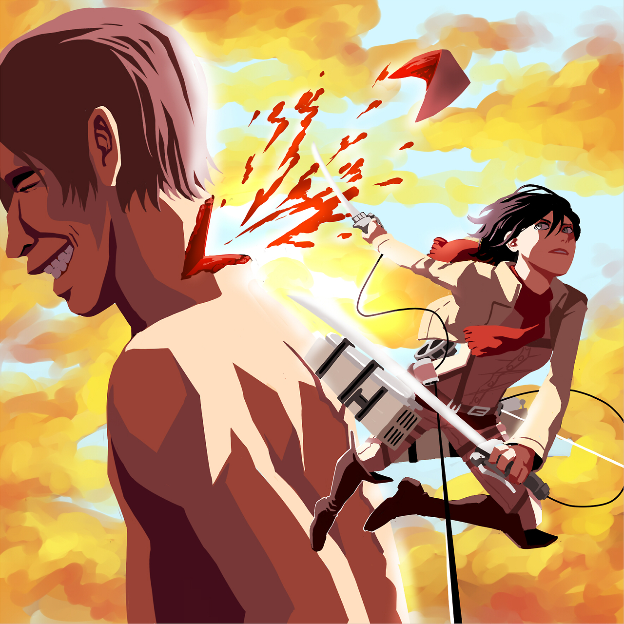 Mikasa kills the creepy titan by Jazzie560
