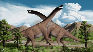 Camarasaurus Battle by PLASTOSPLEEN