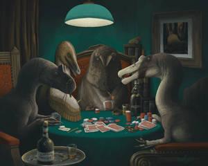 Dinosaurs Playing Poker