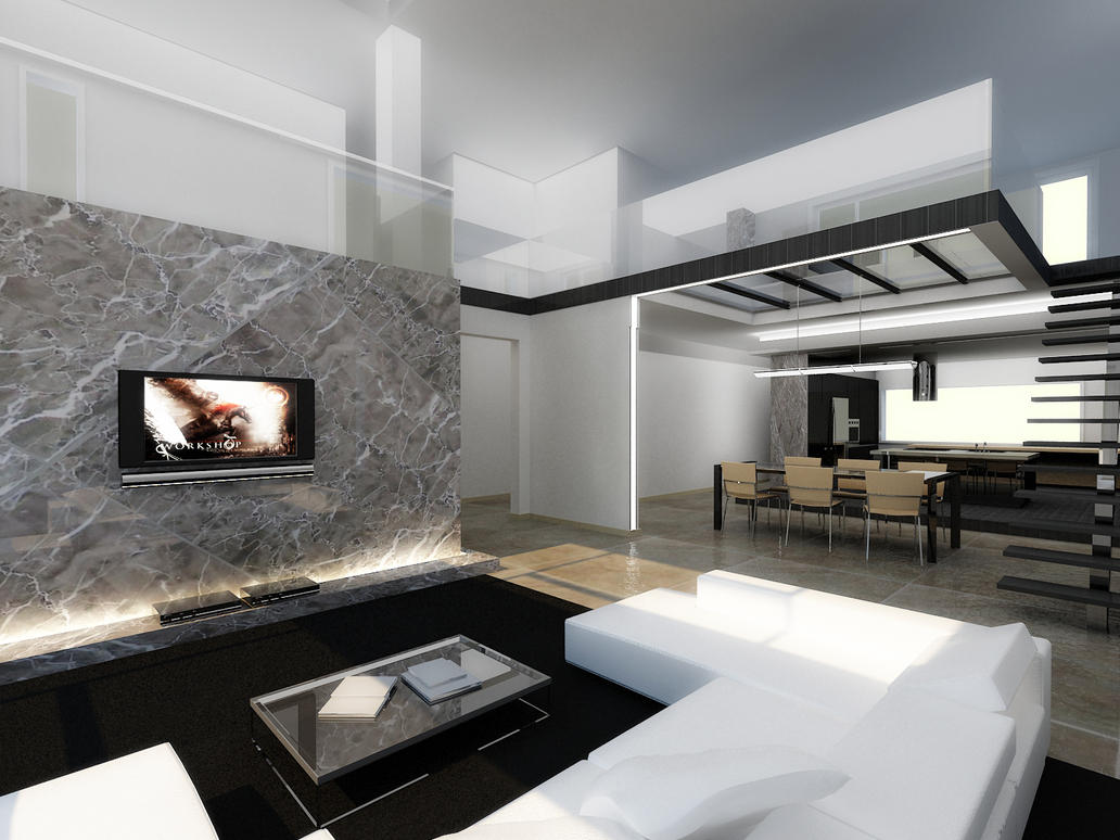 Modern interior by longbow0508 on deviantart for Modern contemporary interior design
