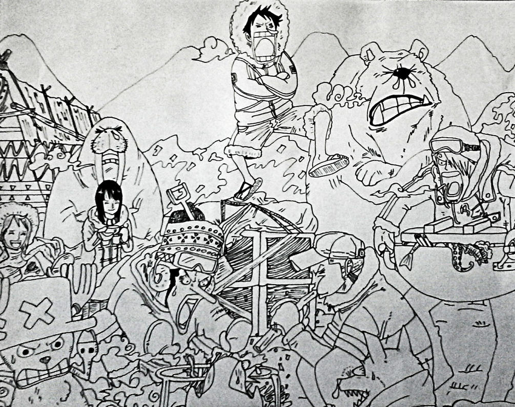 One Piece Lineart : One piece winter drawing sketch by ir0nmike on deviantart