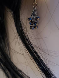 Blue and Copper cluster earrings