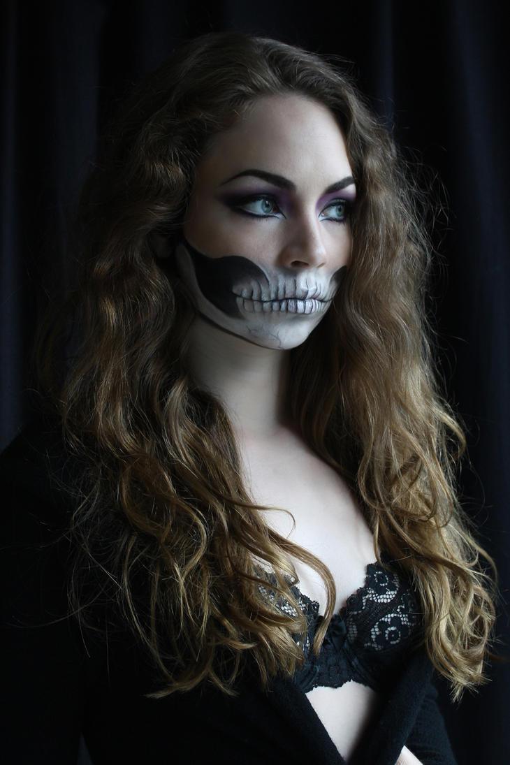 half Skull Makeup Stock by devious-stock on DeviantArt