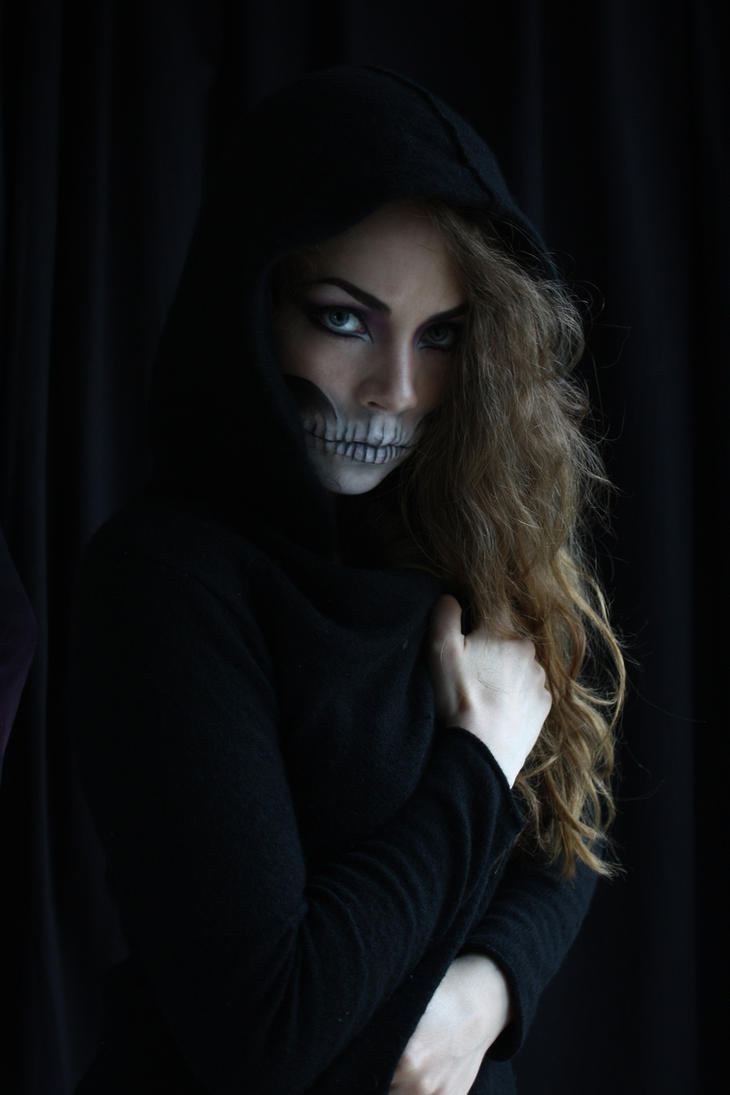 half skull makeup stock by devious-stock