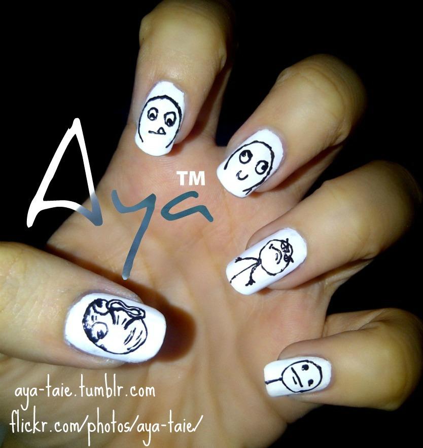 meme_nail_art_by_ayooshie d4x6g1b meme nail art by ayooshie on deviantart,Meme Nail Art