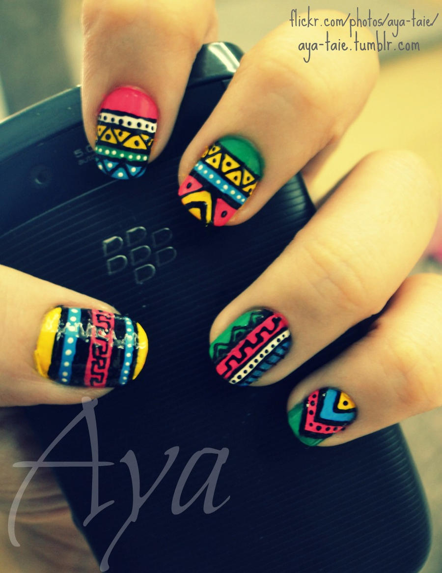 Colorful Tribal Nail Art by Ayooshie on DeviantArt