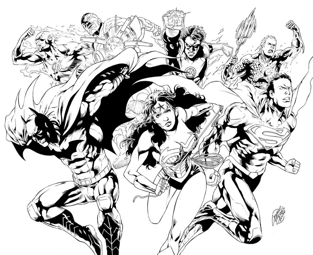 Coloring pages justice league -  Geraldohsborges Justice League Pinup Pencils And Inks By Me By Geraldohsborges