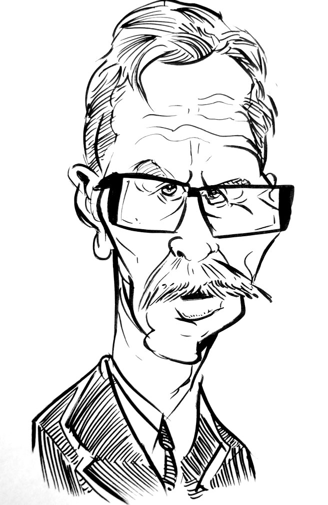 Gary Oldman Dark Knight Black and White Caricature by drawacrowdau