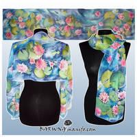 Silk scarf NENUPHAR - WATERLILY hand painted by MinkuLul