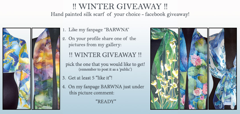 WINTER GIVEAWAY SILK SCARF- JOIN!! by MinkuLul