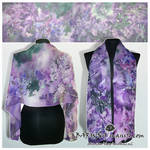 Silk scarf LILAC hand painted - FOR SALE!