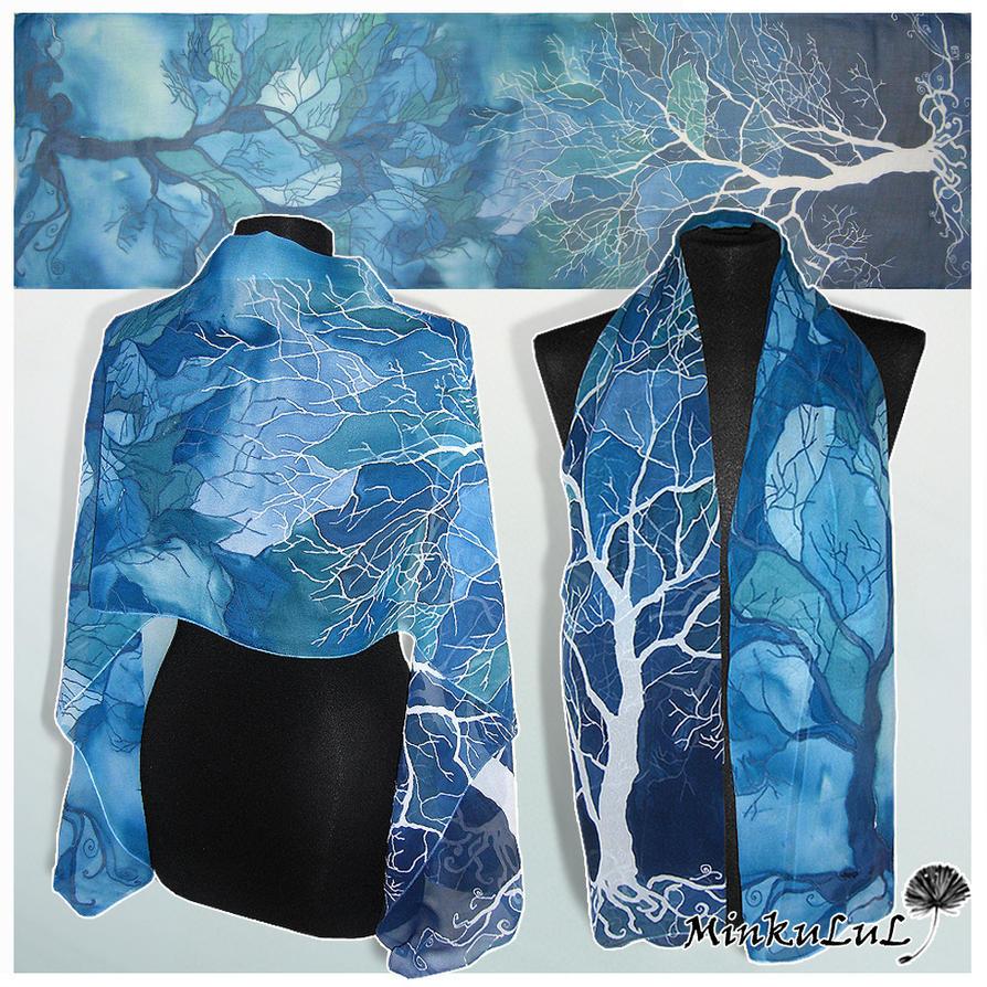 Silk scarf 'Trees in Blue' - for SALE by MinkuLul