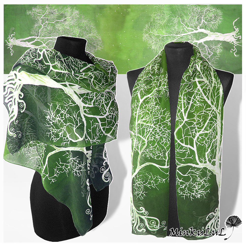 Silk scarf 'White Tree in Green' FOR SALE by MinkuLul