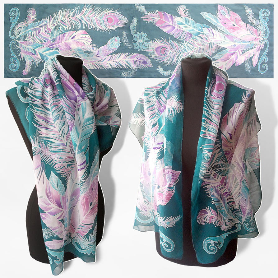 silk scarf Feathers - FOR SALE by MinkuLul