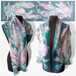 silk scarf Feathers - FOR SALE