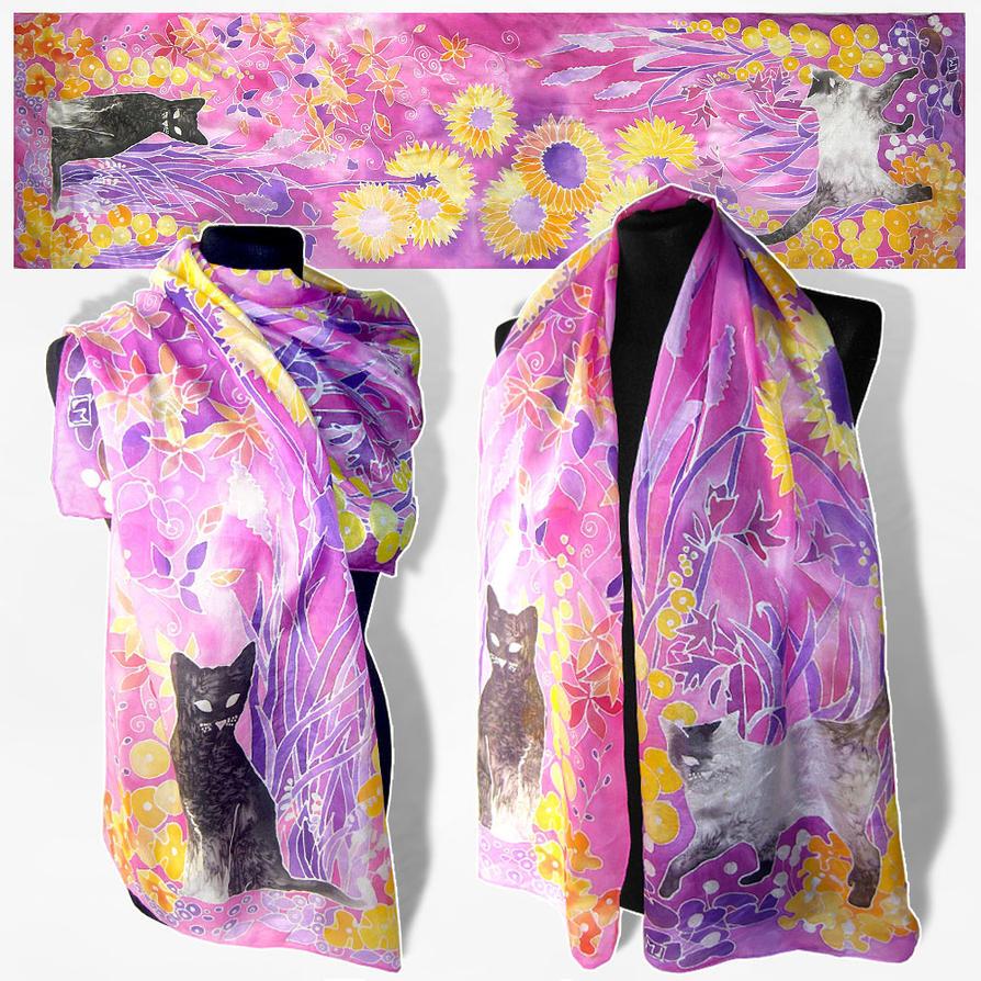 silk scarf cats for sale by minkulul on deviantart