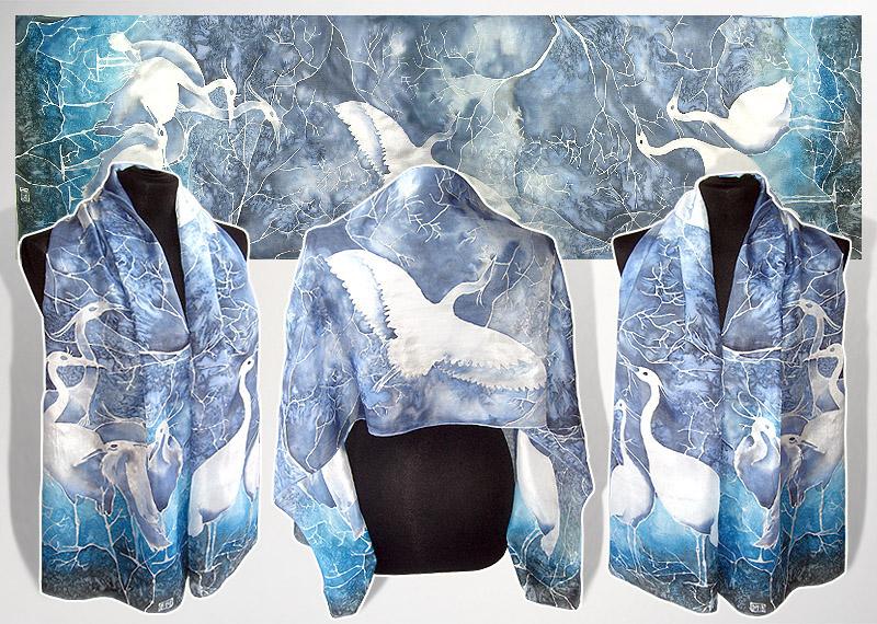 Silk scarf Winter Heron - for sale by MinkuLul