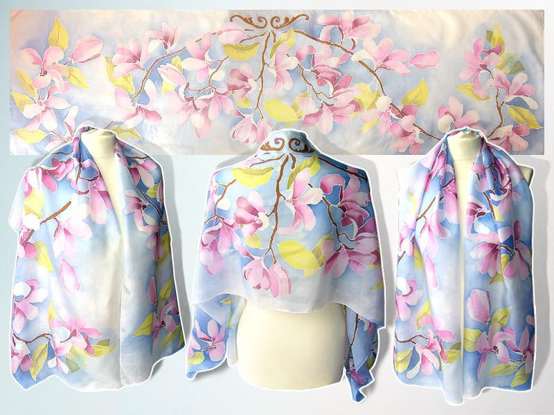 Silk scarf Magnolia Flowers - FOR SALE by MinkuLul