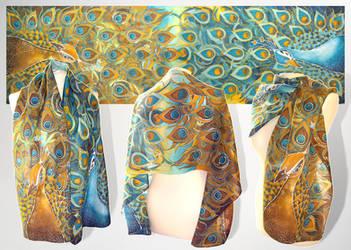 Peacock silk scarf - FOR SALE by MinkuLul