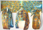 Peacock silk scarf - FOR SALE