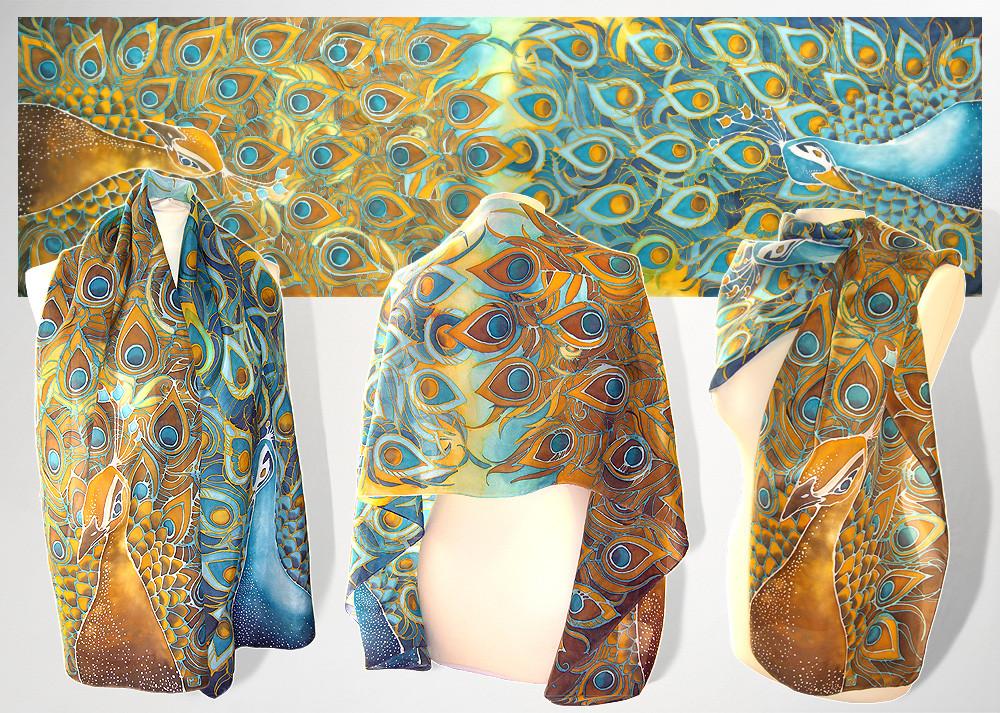 peacock silk scarf for sale by minkulul on deviantart