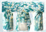 White Tulips silk scarf - FOR SALE