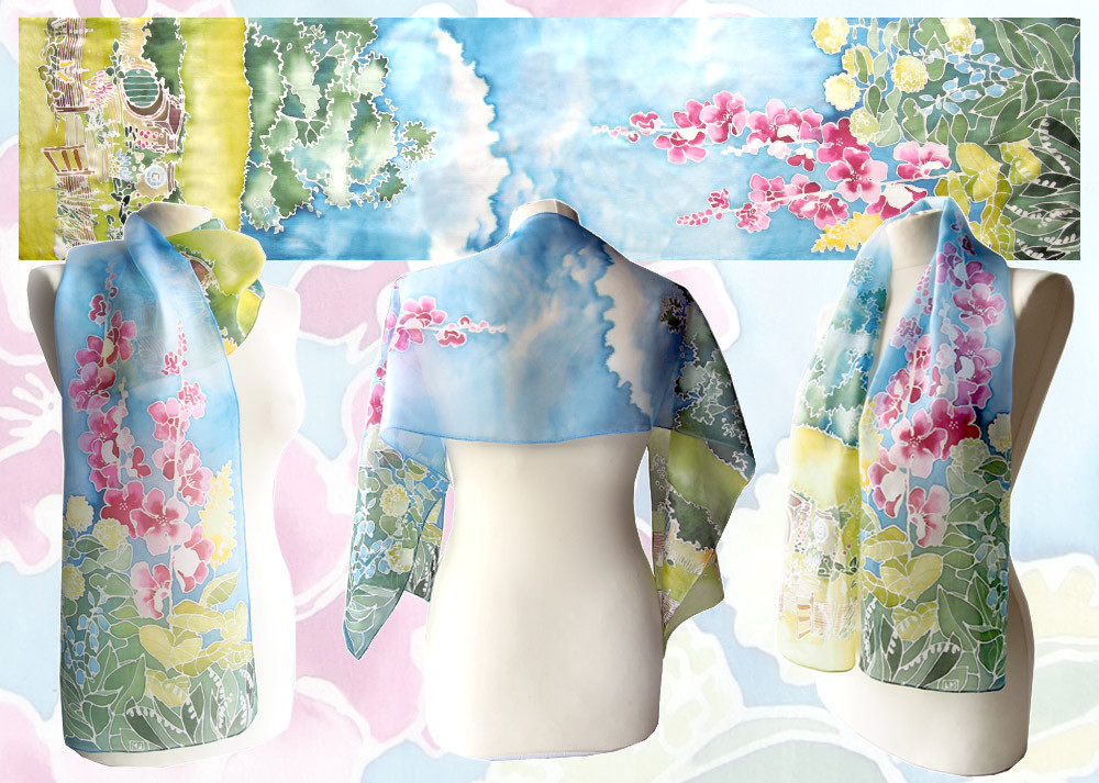 Bag End - hand painted silk scarf by MinkuLul